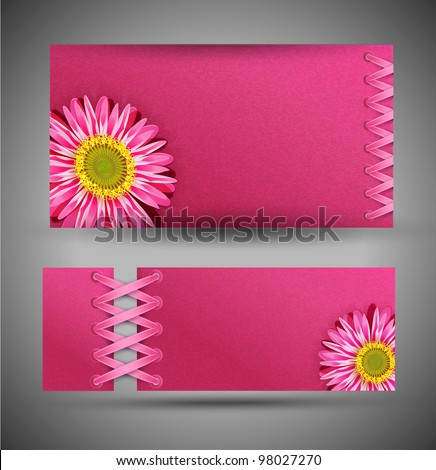 set of pink with flowers (template design element) - stock photo