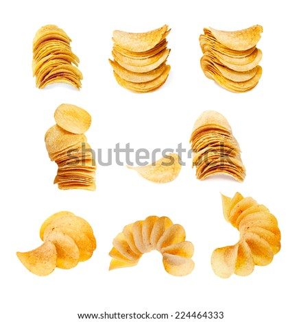 set of potato chips isolated