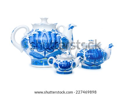 set of three porcelain teapots, Gzhel, blue color, white background  - stock photo