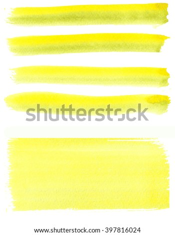 Set of watercolor stripes, background. Spots on a white background. Strip, background. Yellow. - stock photo