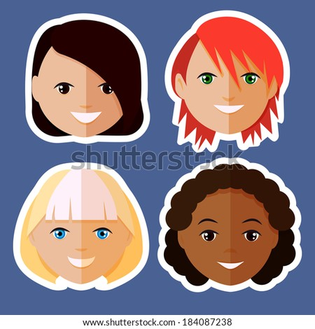 set of women's faces,character icons,flat design ,raster version - stock photo