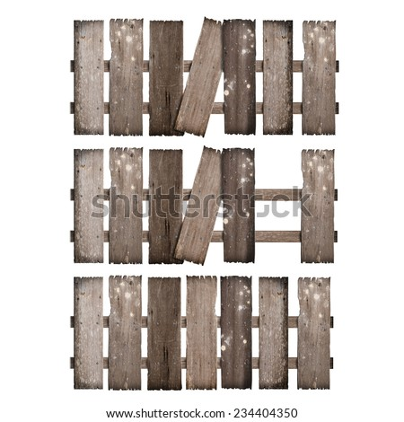 set old wooden fence damaged on white background.d. - stock photo