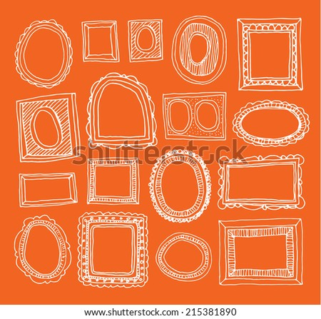 Set picture frames, hand drawn illustration. - stock photo