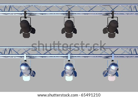 2 sets of stage lights, grey background for easy cut-out - stock photo