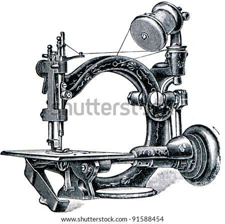 "sewing machine for solid weld - illustration from the encyclopedia publishers ""Education"", St. Petersburg, Russian Empire, 1896 - stock photo"