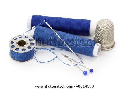 Sewing stuff isolated on white background - stock photo