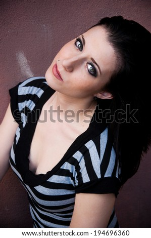 sexy brunette with cigarette - stock photo