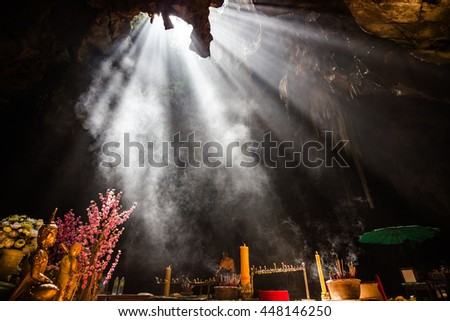 shaft of light - Light shines through the bottom of the cave  :   Khao Luang Cave , A tourist cave of Phetchaburi