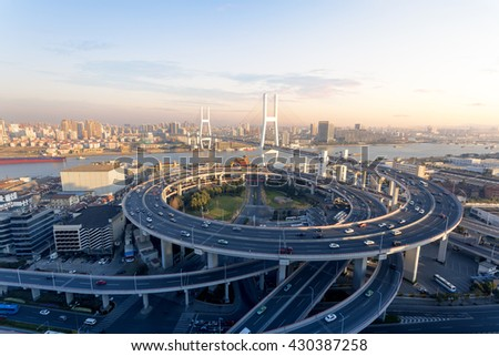 Shanghai China's cross-river bridge - stock photo