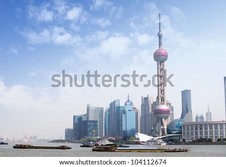 2012 Shanghai skyline - stock photo