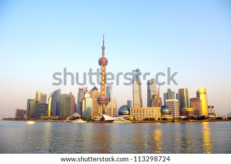2012 Shanghai skyline - stock photo