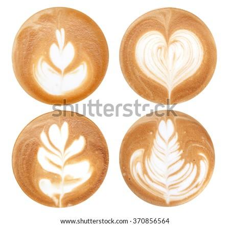 4 shapes of latte art styles on white background isolated - stock photo