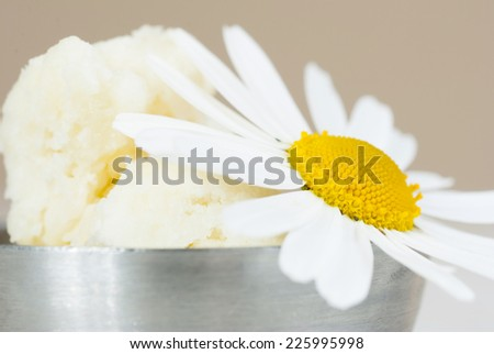 shea butter and herbal flower on white wooden