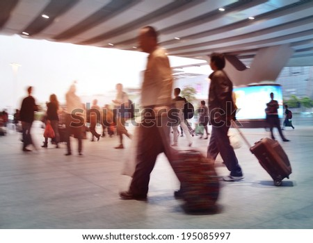 shenzhen Train Tube station Blur people movement in rush hour