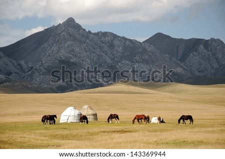 Shepherds tent Yurt with horses, Kyrgyzstan mountain scenery - stock photo
