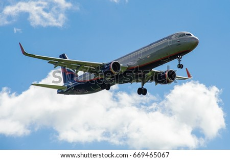 SHEREMETYEVO, MOSCOW REGION, RUSSIA - June 28, 2017: Airbus A321 of Aeroflot Airlines makes a landing at Sheremetyevo International Airport.