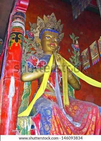 _ SHIGATSE, TIBET-NOVEMBER 16: big Buddha inside Tashilhumpo  monastery. Founded in 1447 it is one of the most important monastery in Tibet. November 16, 2004 Shigatse, Tibet