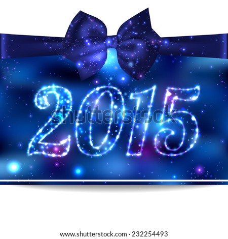 2015 shining blue Christmas background with silk blue bow and place for text. Abstract background.