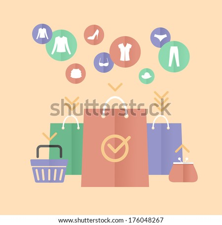 shopping bags and clothes flat concept