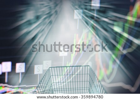 shopping cart in supermarket and stock chart, retail business segment growth profit trend concept background. Achievement business target. - stock photo