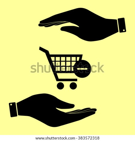 Shopping Cart Remove from Cart Icon. Save or protect symbol by hands.