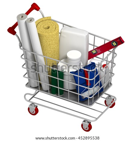 shopping cart with construction materials. 3d rendering - stock photo