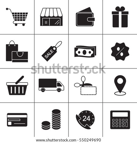 Shopping Line Icons to use in web and mobile UI. Shopping basic UI elements set. Raster version.