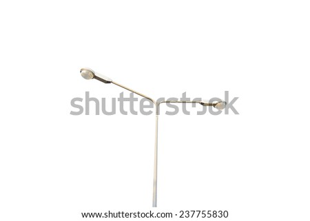 2 side street lamppost on the mist of road isolated on white background - stock photo