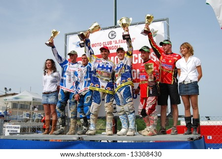 2008 Sidecar cross World Championship in Cingoli (Italy) Date: 1 june 2008 This is the awarding. 1° Willemsen - Grütter  2° Happich - Schelbert  3° Sergis - Stupelis