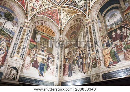 Siena Cathedral forms part of the UNESCO world heritage site in Siena, Italy.25.04.2015 - stock photo