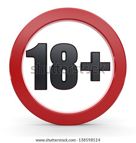 18+ Sign - stock photo