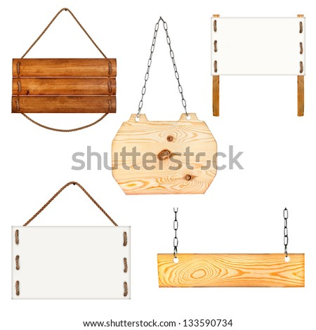 sign board collection with rope and chains isolated on white - stock photo