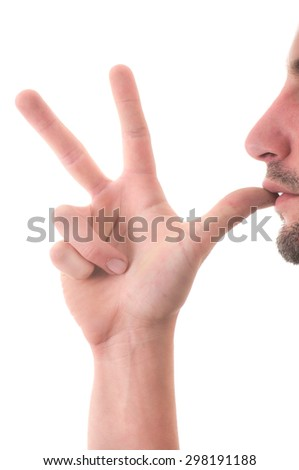 sign language, hand  and face on a white background - stock photo