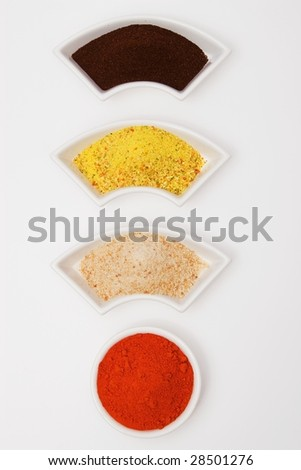 """!"" sign with portion of spices, breadcrumbs and coffee."