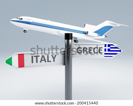 signpost. travel to europe. vacation concept 3d - stock photo