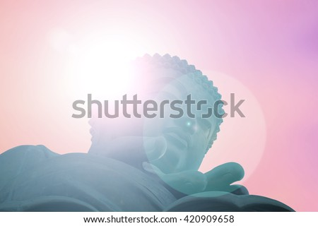 Silhouette Buddha Sky  evening blurred bokeh background. Inspiration creativity mystery  advancement independent dismal stability understanding acceptance ensuring  preservation  security Concept - stock photo