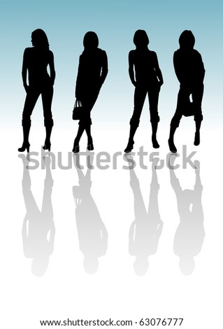 4 silhouette girls with reflection