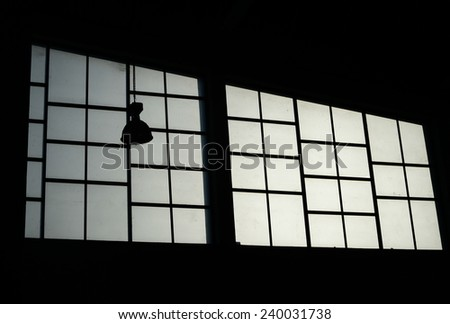 silhouette lamp on glass window background
