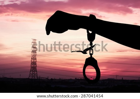 silhouette of hand women in shackle and eagle fly on the sky in city  the sunset background - stock photo