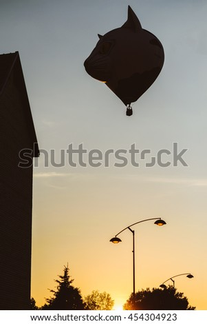 Silhouette of shaped air balloon with beautiful sky
