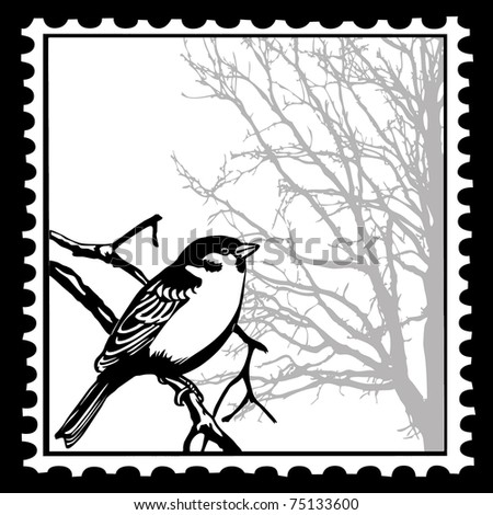 silhouette of the birds on postage stamps - stock photo