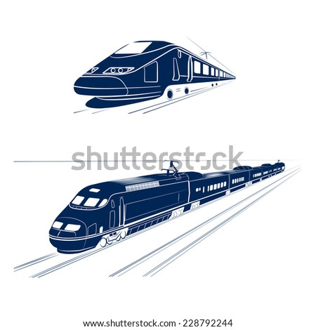 silhouette of the high-speed passenger train - stock photo