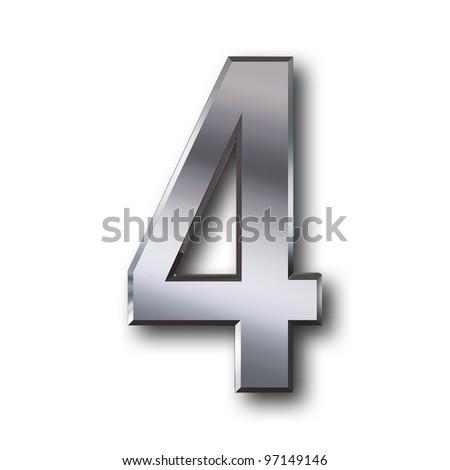 4 silver - stock photo