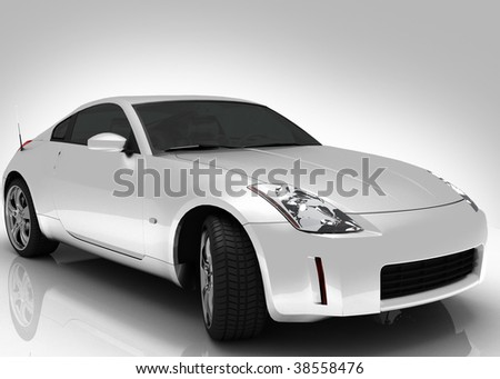 Silver car light background - stock photo