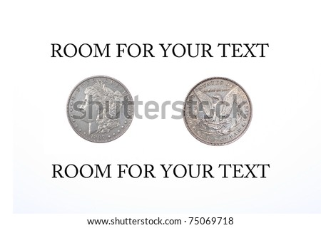 1887 silver dollar. isolated on white with room for your text - stock photo