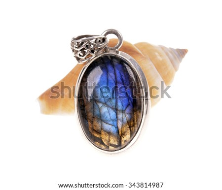 silver jewelry pendant with a stone (mineral) Labradorite   on snail shell