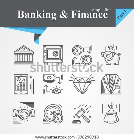 Simple line Banking and Finance icon mobile banking,savings,internet payment security,savings, partnership,online banking,online services,exchange,cash For apps,websites, developers,designers. - stock photo