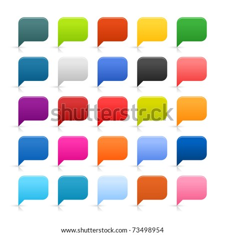 25 simple web 2.0 dialog speech bubble. Rounded square icon with reflection and shadow on white.