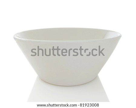 Simple white modern bowl isolated on a white background - stock photo