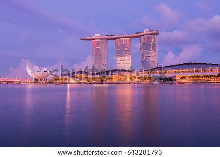 Singapore city skyline at night ,May 11 2017 ,Singapore city skyline w  ,Night sky at Singapore Skyline and on Marina Bay,